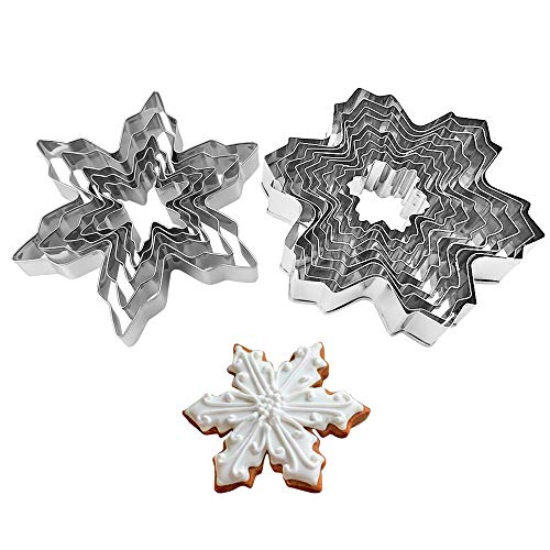 Snowflake Cookie Cutters Metal Cake Cutters for Fondant Decorating Fruit Cutter Sandwich Cutter Kids Biscuit Cutter and Bread Cutter 2 Set 14 PCS ()