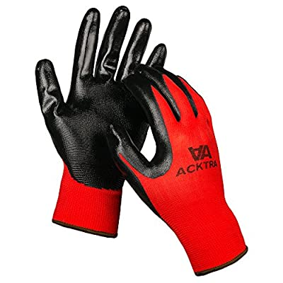 ACKTRA Nitrile Coated Nylon WORK GLOVES 12 Pairs / 1 Dozen, Knit Wrist Cuff, Multipurpose, for Men & Women, Red Grey Yellow, Small Medium Large, WG003