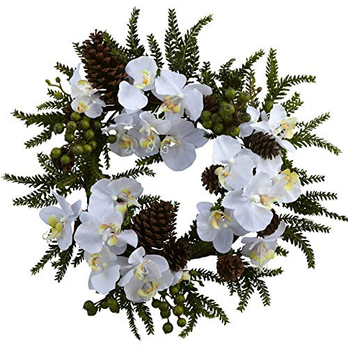 - Mikash 22 Artificial White Orchid, Green Berry Pine Cone Wreath | Model WRTH - 795