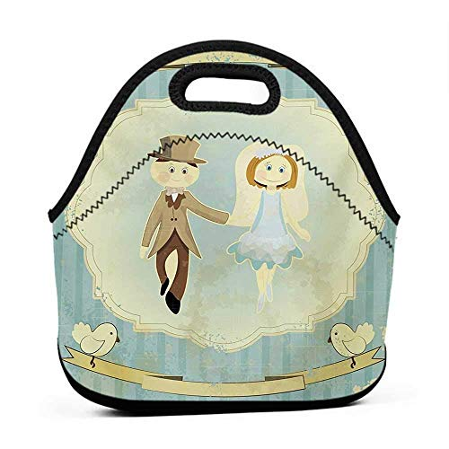 Rugged Lunchbox Wedding,Vintage Retro Design Bride Groom Pigeons Ribbon Celebration,Slate Blue Avocado Green,women lunch bag for work insulated