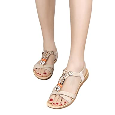 Damen Sandalen FORH Fusskleidung Frauen Komfort Sandaletten Gummiband Riemchen Schuhe Freizeitschuhe Sandalen...