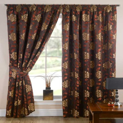 Emma Barclay Davina Floral Woven Pencil Pleat Lined Curtains, Terracotta, 66 x 72 Inch ()
