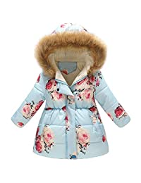 Baby Toddler Girls Boys Winter Fall Clothes Warm Jacket 2-7 Years Old ❤️ Kids Floral Thick Hooded Windproof Coat