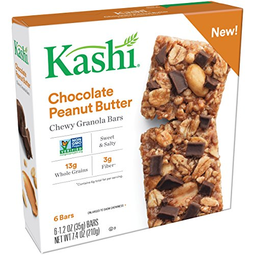Kashi, Chewy Granola Bars, Chocolate Peanut Butter, Vegan, Non-GMO Project Verified, 7.4 oz (6 Count)(Pack of 8) (Butter Kashi Peanut)