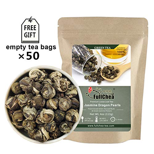 FullChea - Jasmine Pearl Tea - Jasmine Dragon Pearls - Loose Leaf Green Tea - Jasmine Green Tea with Delightful Aroma 4oz / 113g (Dragon Pearl Jasmine Tea)