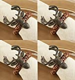 Mud Pie Lodge Reindeer Napkin Rings, Set of 4