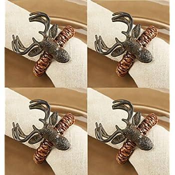 Mud Pie Lodge Reindeer Napkin Rings, Set Of 4 Design Inspirations
