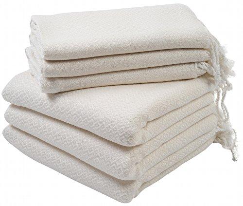 Set of 6 Turkish Cotton Bath Beach Spa Sauna Hammam Yoga Gym Hamam Hand Towel Fouta Peshtemal Pestemal Blanket - 6 White (Hamam Turkish Bath)
