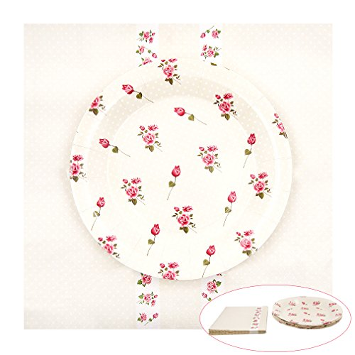 Vintage Tea Party Supplies | Tea Party Napkins & Paper Plates | 9- inch Rose Paper Plates(12 Pack) | Perfect as Wall Decoration | 20 Pack Polk Dot Rose Napkins | Vintage Floral Tea Party (Dots Tea Plate)