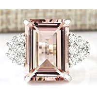 Chic Women Jewelry 925 Silver Natural Morganite & White Sapphire Wedding Ring (8)