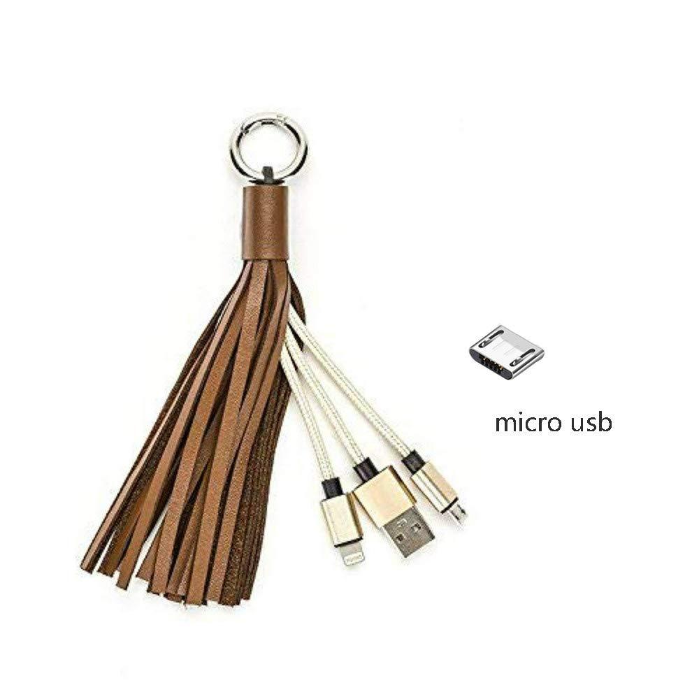 Cable Lightning, Cable de Llavero Portátil Micro USB Cuero ...