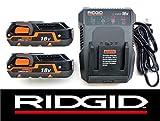 Ridgid 18 Volt Dual Chemistry Battery Charger R86092 & (2) Batteries R840085