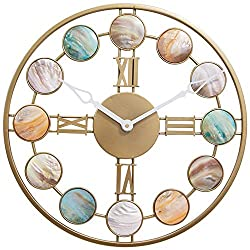 AI-Feson Hand-Polished Deep Sea Shell Wall Clock Single-Sided Wall Clock Mediterranean Style Each Circle Has A Unique Nordic Indoor Wall Clock Living Room Bedroom Fashion Wall Clock