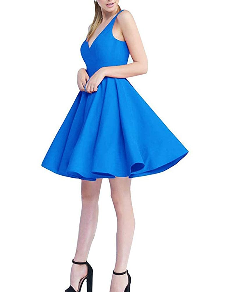 bluee Stylefun Women Short Prom Dress 2019 Satin Aline V Neck Cocktail Homecoming Party Gowns forJuniors BD043