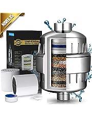 Filtro de Ducha 15 Etapas Universal Filtro Purificador de Agua Ducha con 2 Cartucho de Filtro Reemplazable para Ajustar el pH del Agua y Filtro Cloro Impureza Microbio y Metal Pesado para Cuidar su Piel y Salud