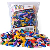 Interlocking Plastic Bulk Building Brick Set 1000 Pieces...