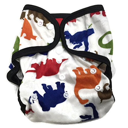 BB2 Baby One Size Printed Minky Minkee Snaps Cloth Diaper Cover for Prefolds (One Size, Colorful Dinosaurs)