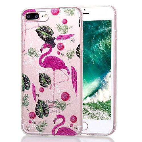 Silikon Hülle für iPhone 8 Plus / iPhone 7 Plus Handyhülle Case, Transparent Silikon Durchsichtig Kristall Klar TPU Schutzhülle Cover mit Glitzer Muster Glänzend Bling Sparkle Pattern Bunt Hülle Tasch Netter Flamingo