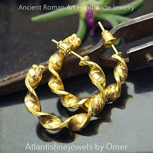 Omer 925 Fine Silver Large Twisted Hoop Earrings 24k Gold Vermeil Turkish Fine Jewelry