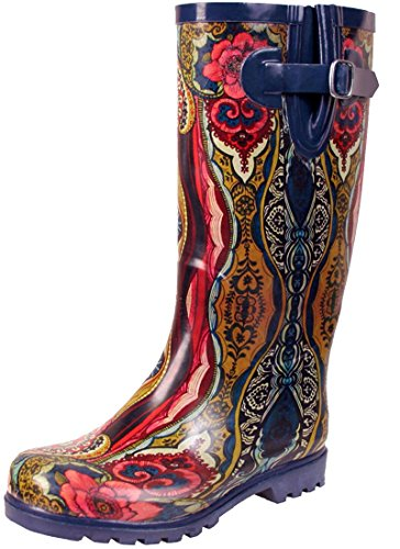 TWO Nomad Women's Drench Colorful Pattern Print Waterproof Rain Boots Navy/Tiki