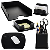 5pc Leatherette Office Desk Organizer Set Tray Mousepad Card Note & Pen Holders