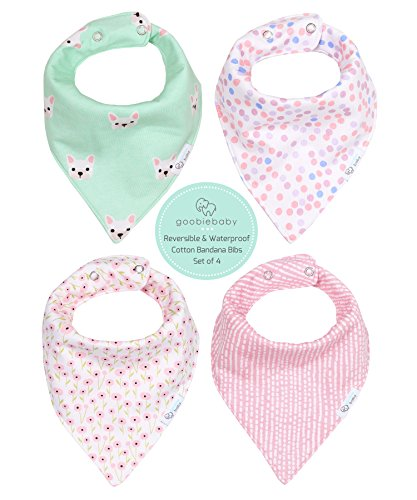 REVERSIBLE & WATERPROOF Cotton Baby Bandana Drool Bibs for Girls with Adjustable Snaps, Pack of 4, Soft Absorbent Cute Modern Premium Bib Set for Teething Drooling, Perfect for Baby Shower Gift (Pink) (Bandana Waterproof)