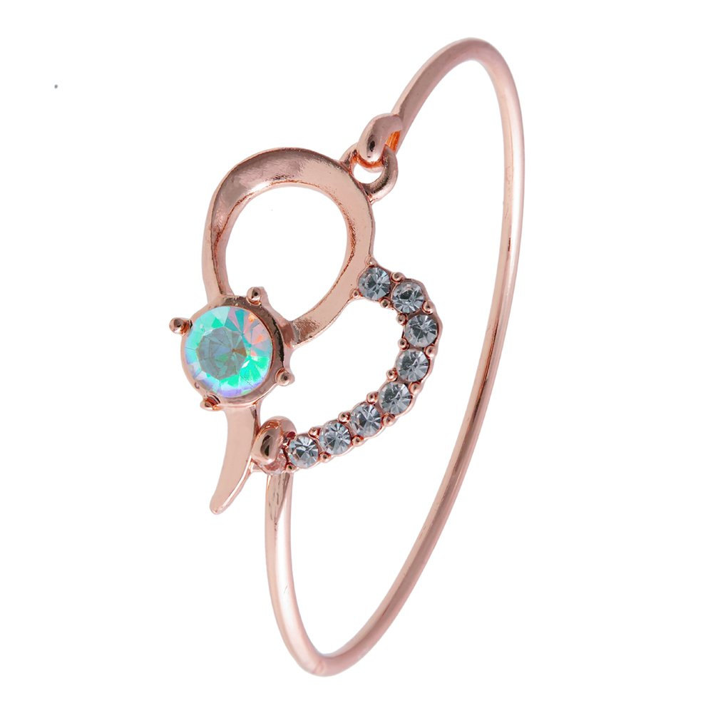 RUXIANG Bule Gemstones Heart Bangle Cuff Bracelet Jewelry for Women