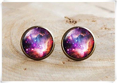Beaded Solar Ring (Galaxy Stud Earrings, Space Earring, Space Jewelry, Space Stud Earrings, Astronomy Jewelry,Earrnig Universe solar system)