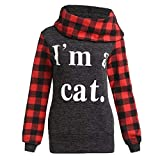 PENGYGY Women Letters Tops Checked Shirts Tunic Long Sleeve Pullover Sweatshirt Stylish fashion sweater I'm a cat