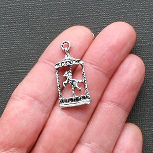 Pendant Jewelry Making for Bracelets and Chains 6 Carousel Horse Charms Antique Silver Tone Just Beautiful - SC1310