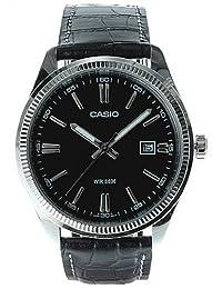 Casio Men's Core MTP1302L-1AV Black Leather Quartz Watch with Black Dial