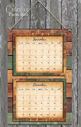 Green barn wood vertical dry erase 2 month calendar