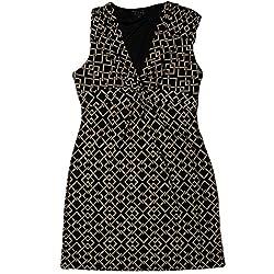 Kiara Womens Sleeveless Twist Knot Front Dress Medium Black/White Print