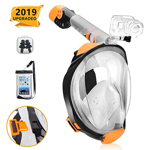 RASSE Full Face Snorkel Mask,Snorkeling Mask with Anti-Fog Anti-Leak Design and Detachable Camera Mount, Easier Breath with 180 Degree Larger View Area for Adults Youth Kids with Adjustable Head Strap