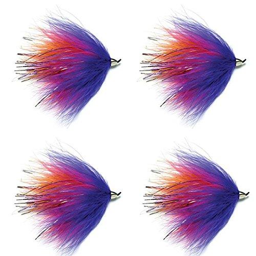 Conehead Popsicle Steelhead and Alaska Fly - 4 Flies Hook Size 1/0 - Steelhead Salmon or Trout Streamer Flies (Salmon Fly Hooks)