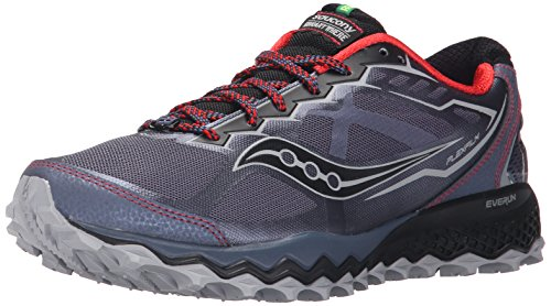 Saucony Men's Peregrine 6 Trail Running Shoe,Grey/Red/Blue,9 M US