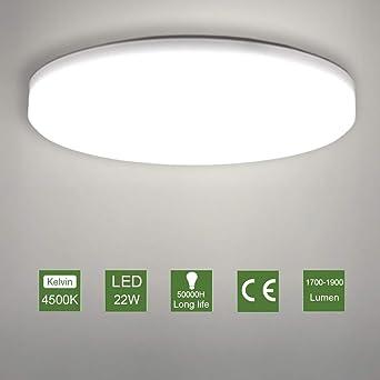 LED Lámpara de Techo,22W Moderna Plafón Led de Techo Redonda Ultra ...