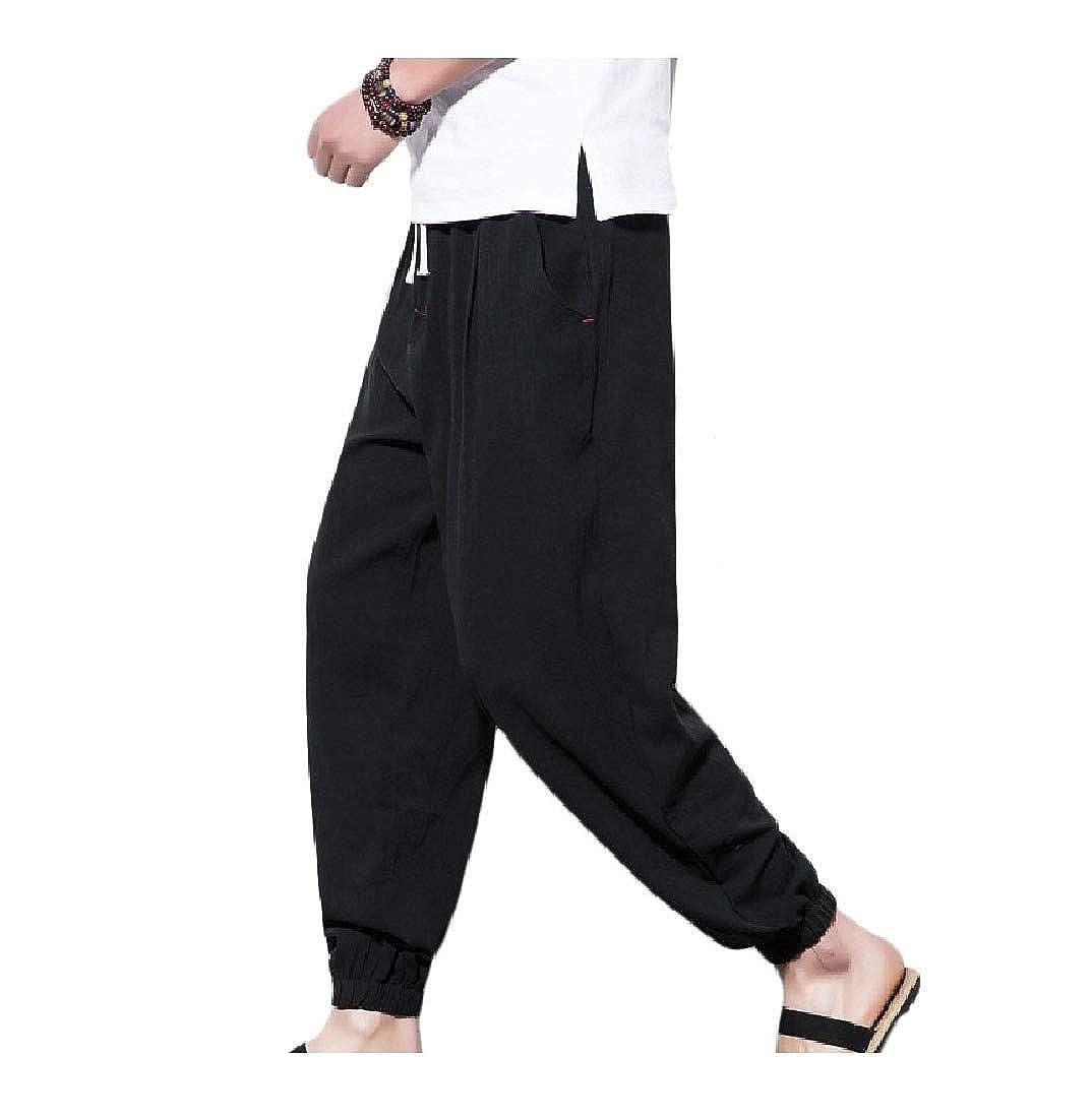 DressU Mens Haren Pants Movement Solid Cotton Linen Knickers Casual Pants