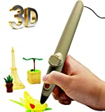 WER 3D Doodler Pen Low Temperature 5th Generation USB Cable for Doodling Drawing Art & Craft Making, 3D Modeling with 1 bag mixed color PCL Filament for Stimulating Creativity/Imagination-Light Grey