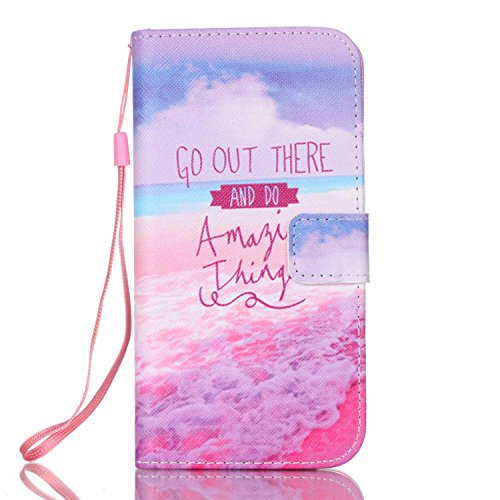 Samsung Galaxy S7 Edge wallet Case,CasesHome Fashion Colorful Printing Drawing[Hand Wrist Strap] Design Pattern PU Leather Flip Case with Magnetic Closure Stand Protective Case Cover-Ocean Quote