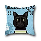 Oshiley Black Cat Art Painting 100% Cotton Sofa Pillow Case Cushion Covers Square Put In Car Seat And Beds ( 20*20 )