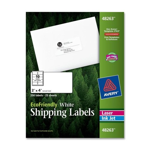Avery Mailing Label - 2amp;quot; Width x 4amp;quot; Length - 10/Sheet - Permanent - 250 / Pack - White