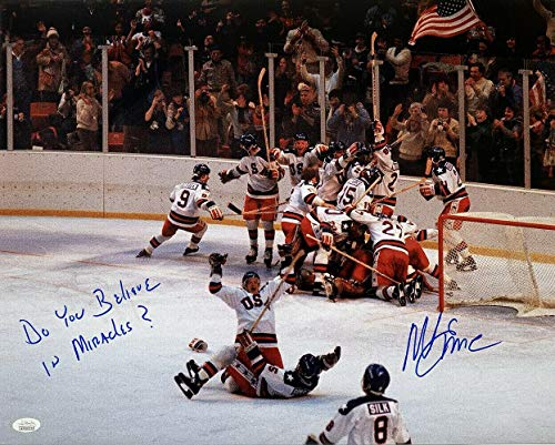 Mike Eruzione Signed 1980 USA Miracle On Ice 16x20 Photo Do You Believe Insc - JSA Certified - Autographed Olympic Photos