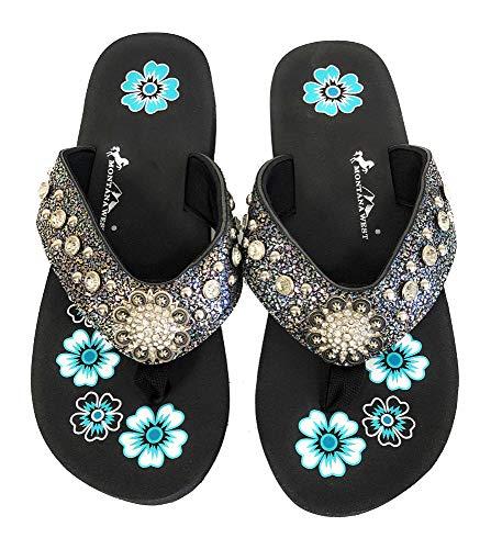 - Montana West Flip Flops Sandal Crackle Texture Crystals Floral Concho Blue 7