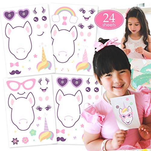 (Gooji Make a Unicorn Stickers for Kids (24 Sheets) Great Unicorn Theme Birthday Party Favors, Reusable, Customizable Eyes, Face, and Horn | Creative Arts and Crafts Project | Fun for Boys, Girls ...)