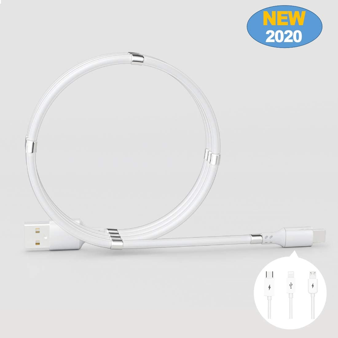 for Charging Phone//Android Phones Magnetic Auto Storage USB 2.0 Charger Cable with Carrying to Smartphone Port Mirco USB, White Headset and Tablets or Connecting PC for Transferring Files