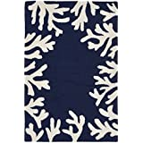 Liora Manne Monaco Shell Border Indoor Outdoor Rug, 20 quot; x 30 quot;, Navy Blue