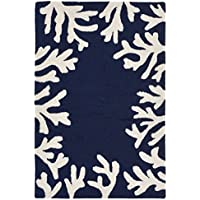 Liora Manne Monaco Shell Border Indoor/Outdoor Rug, 20 x 30, Navy Blue