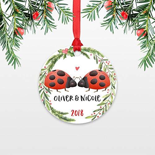 Love Bug Keepsake - Georgia Barnard Ladybug Couple Christmas Ornament Personalized Custom Animal Love 1st First Christmas Married Engaged Newlywed Engagement Wedding Gift Keepsake Gift 3