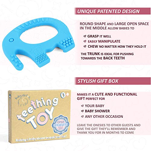 Teething Toys For Boys - Teethers For Babies Bpa Free Silicone - Easy To Hold, Soft, Bendable, Highly Effective Elephant Teether, Best for Freezer, Cool 3 6 12 Months 1 Year Old Baby Shower Gifts